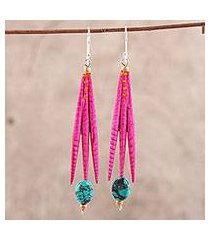 recycled paper and dolomite dangle earrings, 'fuchsia spikes' (india)