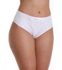 calcinha imi lingerie cã³s alto cintura alta em microfibra e renda vanusa branca - branco - feminino - dafiti