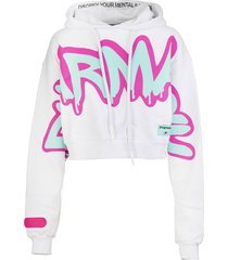 pharmacy industry woman white crop hoodie with graffiti logo