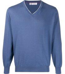 brunello cucinelli v-neck cotton pullover - blue