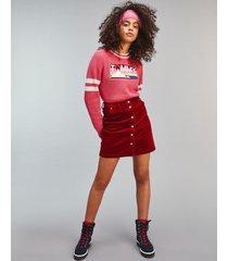 tommy hilfiger women's cord button skirt wine red - xxs