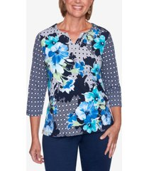 women's missy vacation mode floral diamond patchwork top