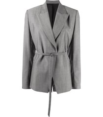 christian wijnants belted single-breasted blazer - grey