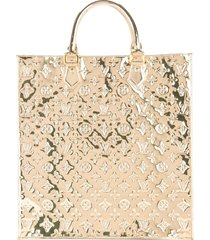 louis vuitton pre-owned sac plat monogram mirrored tote bag - gold