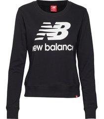 essentials crew sweat-shirt tröja svart new balance
