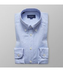 eton heren overhemd royal oxford licht button-down slim fit blauw