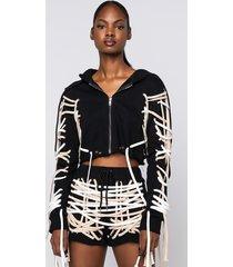 akira no rush crop lace up sweater