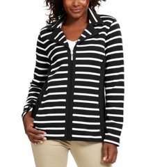 karen scott petite striped zip-up jacket, created for macy's