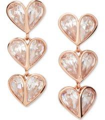 kate spade new york crystal heart linear drop earrings