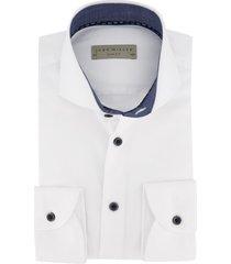 john miller wit overhemd slim fit navy boord