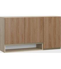 armário triplo c/ nicho aveiro/madeira be mobiliário marrom