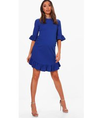 zwangerschaps loshangende jurk met ruches en ronde zoom, horizonblauw