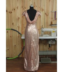 long cap sleeves open back rose gold sequin bridesmaid prom dress 2016