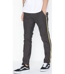 river island joyce fine stripe sk jogger trs with tape byxor grey