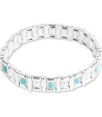 lucky brand silver-tone stone geometric stretch bracelet