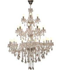 lustre de cristal aberdeen para 28 lâmpadas bivolt