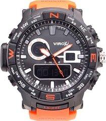 reloj virox hombre análogo digital naranja