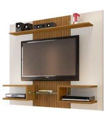 painel atlas p/ tvs até 55 polegadas off-white/cinamomo ripado móveis bechara