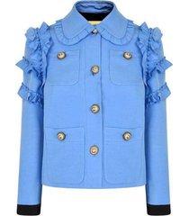 -ruffle bijgesneden cady jacket