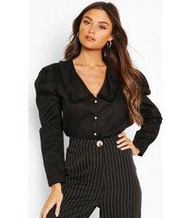 katoenen blouse met kraag en parelknopen, black