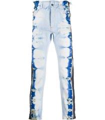 palm angels distressed tie-dye slim-fit jeans - blue