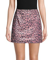 cheetah-print sequin mini skirt