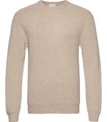 man o-neck ribbed sweater stickad tröja m. rund krage beige davida cashmere