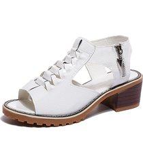sandalias de tacón grueso de peep toe con tacón grueso para mujeres