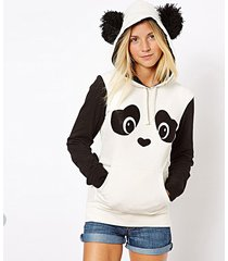 cute women's panda fleece pullover hoodie sweatshirts tops sweater wj30