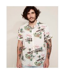 "camisa masculina tradicional estampada tropical fever"" manga curta off white"""