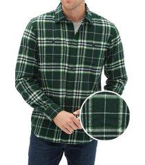 camisa franela verde gap