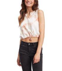 roxy tie dye drawstring waist t-shirt, size medium in sunburst at nordstrom