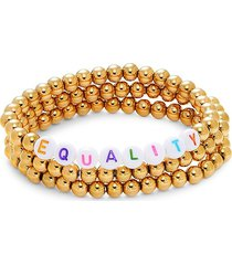 eye candy la women's three-piece equality bracelet set