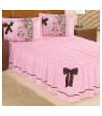 kit colcha casal padrão rosa matelada com travesseiro decorativo 5 peças