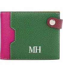 billetera extraplana verde multicolor sarah