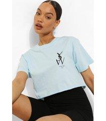 kort t-shirt met borstopdruk, light blue