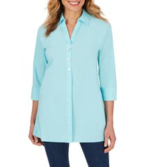 women's foxcroft pamela stretch button-up tunic, size 4 - blue