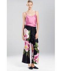 clair de lune pants pajamas, women's, black, 100% silk, size l, josie natori