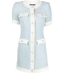 amen collarless buttoned woven dress - white