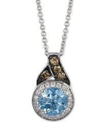 "le vian aquamarine (5/8 ct. t.w.) & diamond (1/8 ct. t.w.) 18"" pendant necklace in 14k white gold"