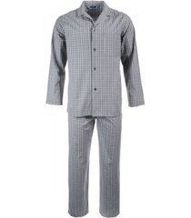 club room men's triple window check pajama set, created for macy's