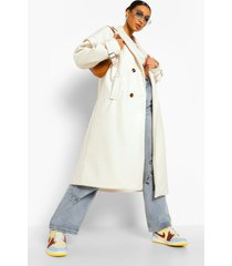 oversized nepwollen jas met schoudervulling, ecru