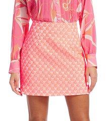 milly women's floral cloque bekki skirt - neon melon - size 10