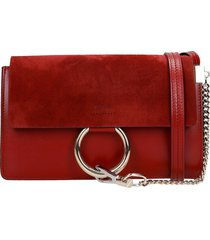 chloé faye small shoulder bag in bordeaux suede and leather
