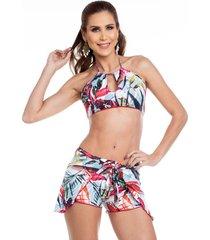 shorts de praia maré brasil off-white
