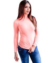 blusa color rosado para dama manga larga cuello tortuga en jersey licra juno