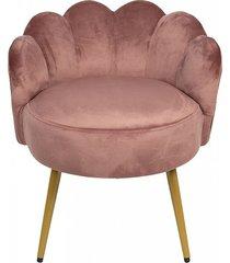 fotel welurowy krzesło shell róż
