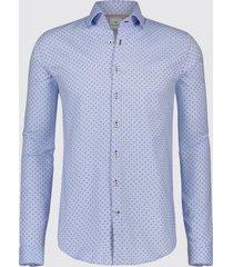 blue industry overhemd licht stippen perfect fit