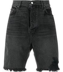 black half track denim shorts