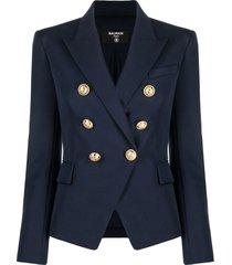 balmain double-breasted blue viscose blazer